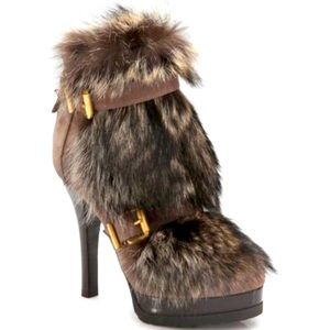 "FENDI ""Winter Tale"" Fur Leather Platform Booties"